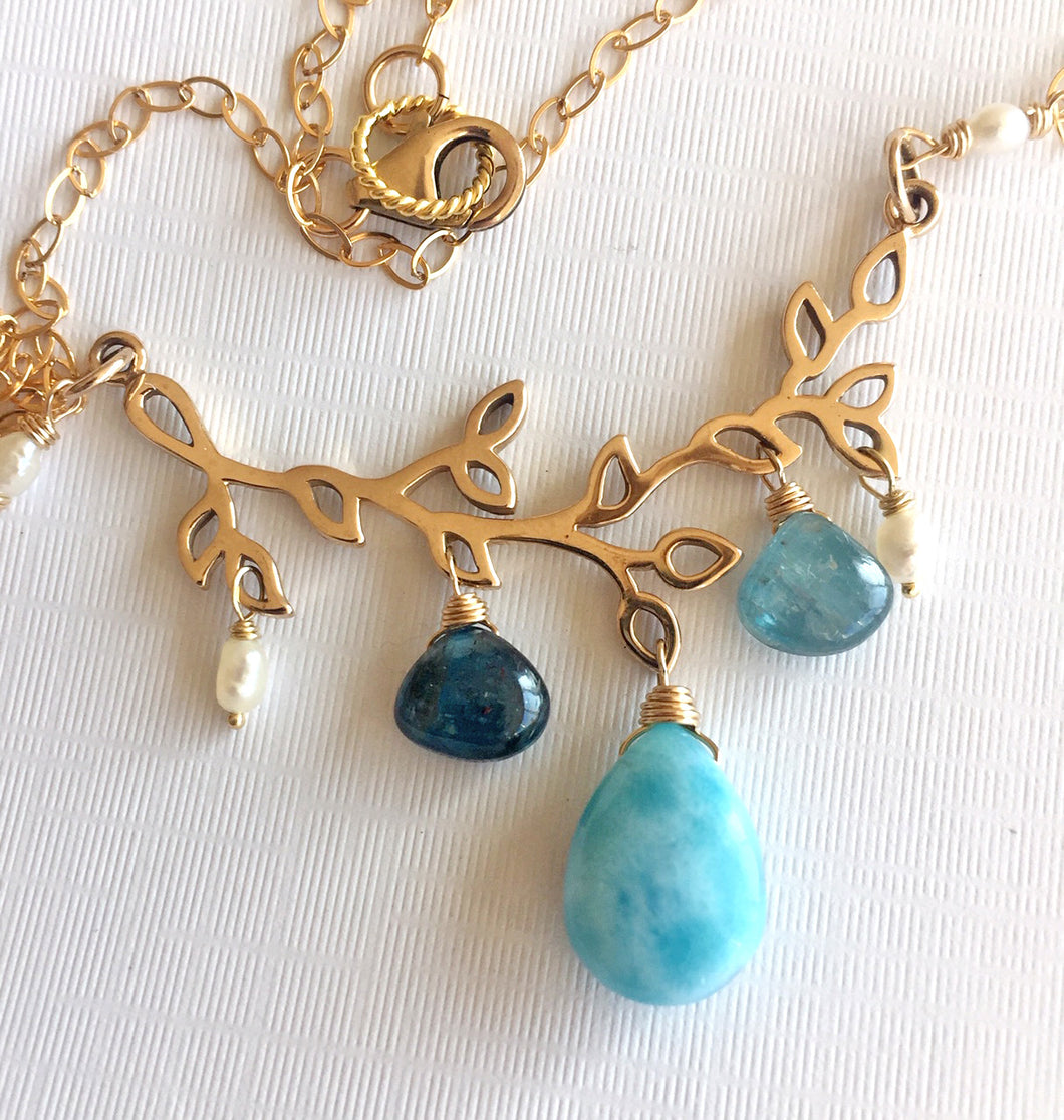 Sea Spray Larimar Necklace, OOAK