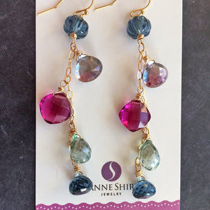 Brand New Day Sparkly Dangle Earrings, 3 metal options