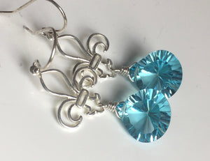 Fleur de Lis Necklace, Bright Apatite Blue Laser Quartz