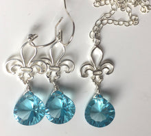 Load image into Gallery viewer, Fleur de Lis Necklace, Bright Apatite Blue Laser Quartz
