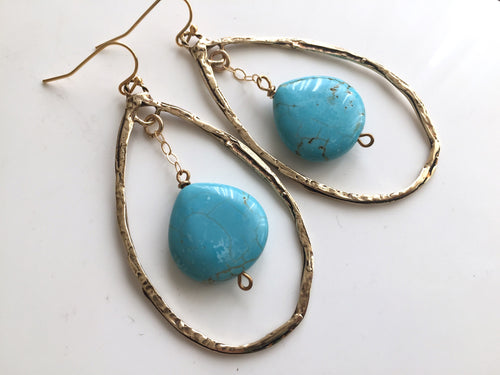 Large Turquoise Hoop Earrings, Bronze OOAK