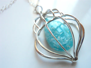Cage Necklace with Amazonite in Sterling Silver