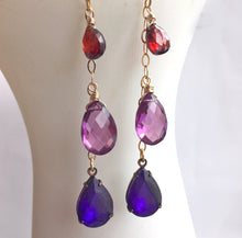 Load image into Gallery viewer, Ultraviolet Candlelit Cafe Dangles, mixed metal, limited quantity
