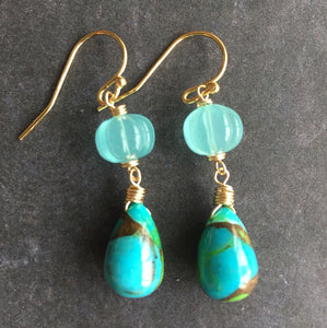 Copper Turquoise Dangles, OOAK