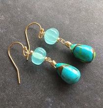 Load image into Gallery viewer, Copper Turquoise Dangles, OOAK