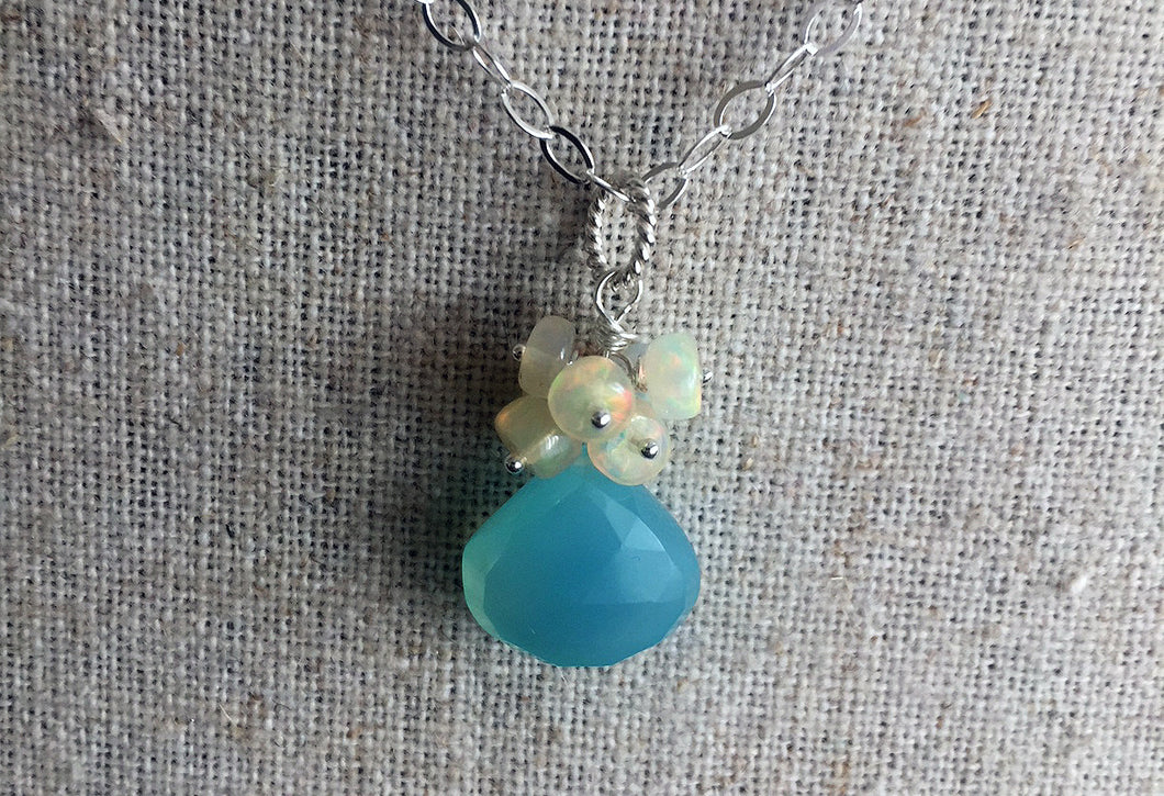 Opal and Chalcedony Cluster Necklace