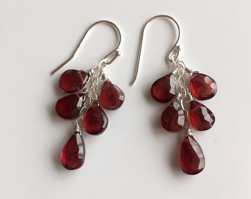 Red Lip Look - Pyrope Garnet Dangles- limited quantity