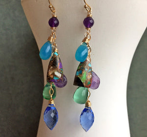 Charmante Dangle Earrings, Turquoise, OOAK