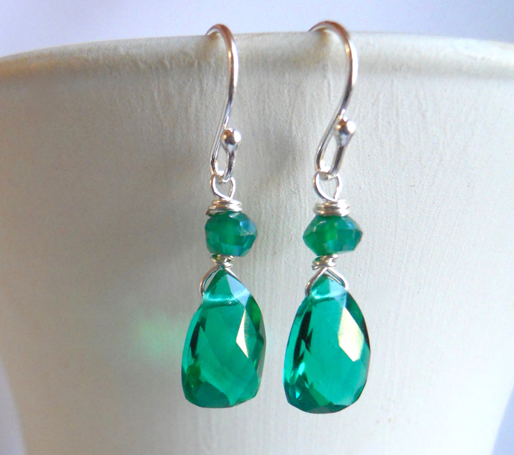 Mini Cleo Goddess Emerald Green Pyramid earrings