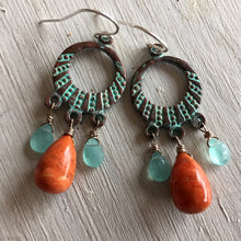 Load image into Gallery viewer, Athena Sponge Coral Earrings