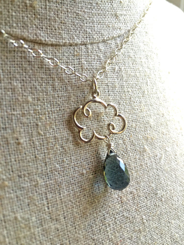 Smokey Blue Quartz Rain Cloud Charm Necklace