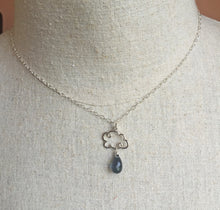 Load image into Gallery viewer, Smokey Blue Quartz Rain Cloud Charm Necklace