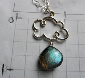 Cloud Charm Necklace with Labradorite