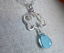 Load image into Gallery viewer, Rain Cloud Charm Necklace in Swiss Blue Quartz Teardrop