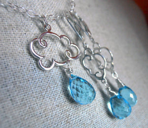 Rain Cloud Charm Necklace in Swiss Blue Quartz Teardrop