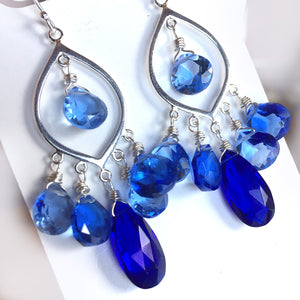 Cobalt Cavalcade Marquis Chandelier Earrings - allow an extra week please