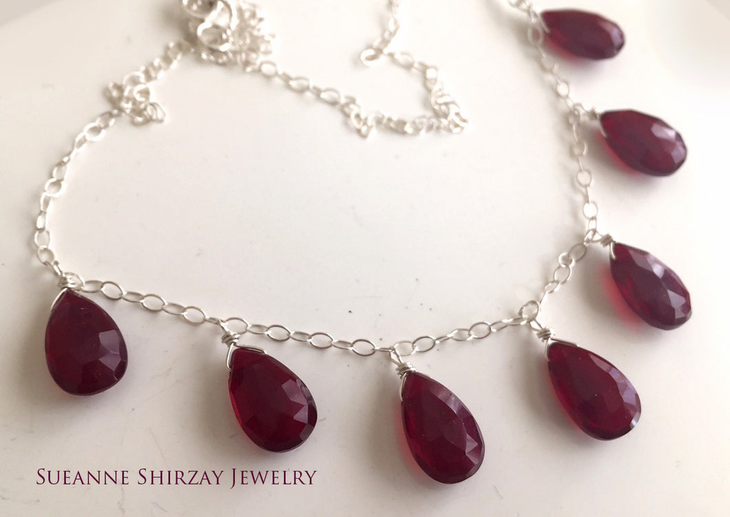 Contessa necklace- Deep Red, 7 stone
