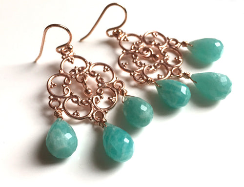Amazonite Countryside Chandelier Earrings, Silver or Rose Gold