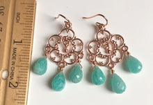 Load image into Gallery viewer, Amazonite Countryside Chandelier Earrings, Silver or Rose Gold