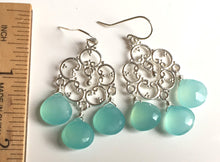 Load image into Gallery viewer, Aqua Chalcedony Countryside Chandelier Earrings, Silver or Rose Gold