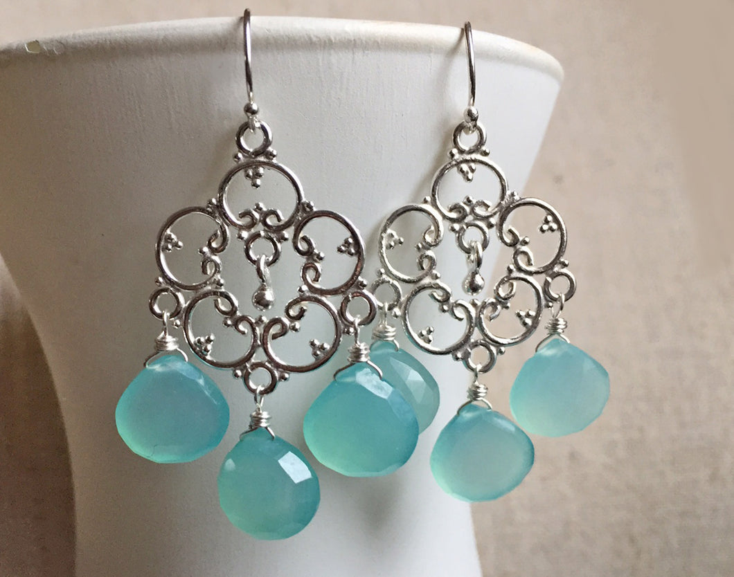 Aqua Chalcedony Countryside Chandelier Earrings, Silver or Rose Gold