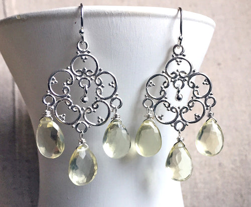 Lemon Quartz Countryside Chandelier Earrings