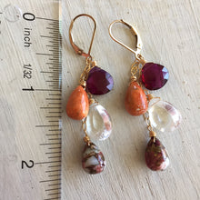 Load image into Gallery viewer, Cranberry Cascade Dangles, Coral and Turquoise, OOAK