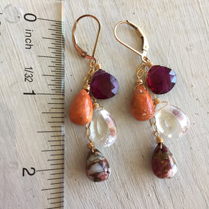 Cranberry Cascade Dangles, Coral and Turquoise, OOAK