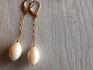 Freshwater Pearl Dangle Earrings, Sterling, Gold, or Rose Gold