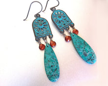 Load image into Gallery viewer, Showstopper- Cuprite Chrysocolla Polished slice Earrings-with garnet- ONE of a KIND