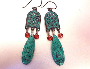 Showstopper- Cuprite Chrysocolla Polished slice Earrings-with garnet- ONE of a KIND