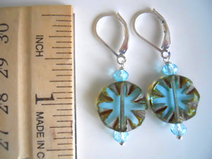 Aqua Burst Earrings, Czech Glass