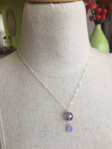 Ladies' Lunch Opal Lavender Czech Glass and Chalcedony Necklace