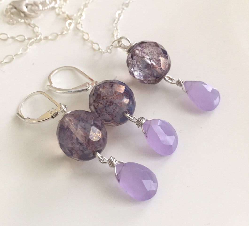 Ladies' Lunch Opal Lavender Czech Glass and Chalcedony Earrings