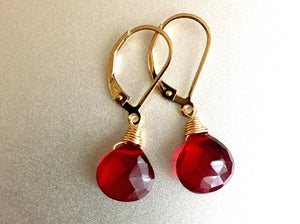 Cabernet Red Single Stone Leverback Optional Earrings, Sterling, Gold or Rose Gold