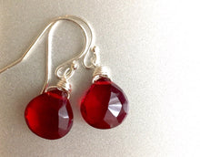 Load image into Gallery viewer, Cabernet Red Single Stone Earrings, Sterling, Gold or Rose Gold