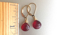 Load image into Gallery viewer, Cabernet Red Single Stone Leverback Optional Earrings, Sterling, Gold or Rose Gold