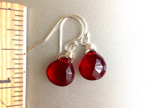 Cabernet Red Single Stone Earrings, Sterling, Gold or Rose Gold