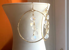"Load image into Gallery viewer, Deborah Hammered Hoop Earrings in Moonstone and 14K Gold Filled, Size: 50mm, 2"", Metal choices"