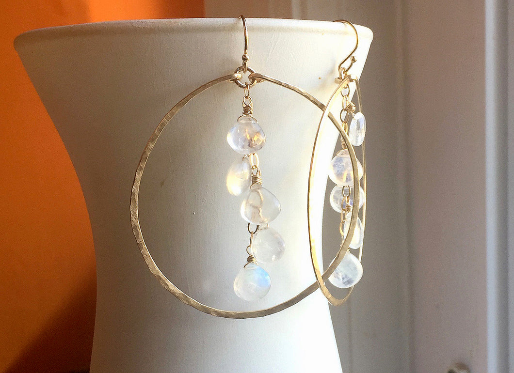 Deborah Hammered Hoop Earrings in Moonstone and 14K Gold Filled, Size: 50mm, 2