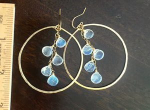 "Deborah Hammered Hoop Earrings in Moonstone and 14K Gold Filled, Size: 50mm, 2"", Metal choices"
