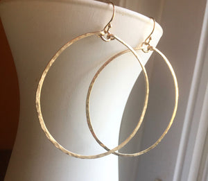 "Deborah Hammered Hoop Earrings in 14K Gold Filled, Size: 50mm, 2"", Metal choices"