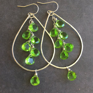 Peridot Quartz Sparkling Double Decker Hoops