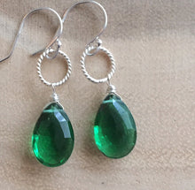 Load image into Gallery viewer, Emerald Green Single Stone Dangle Earrings
