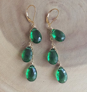 Emerald Green Trio Dangle Earrings