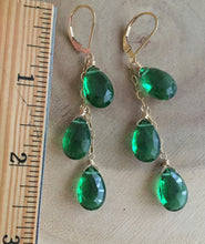 Load image into Gallery viewer, Emerald Green Trio Dangle Earrings