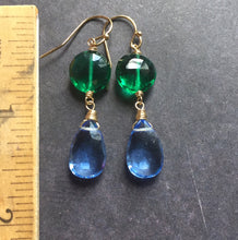 Load image into Gallery viewer, Double Trouble Emerald and Tanzanite Dangles
