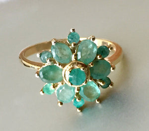 Natural Emerald Flower Ring, Gold over 925 Sterling Size 7, OOAK