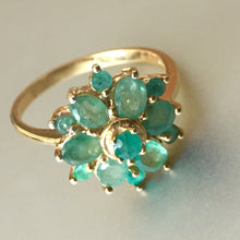 Load image into Gallery viewer, Natural Emerald Flower Ring, Gold over 925 Sterling Size 7, OOAK