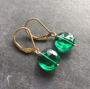 Emerald Coin Dangle Earrings, metal choices